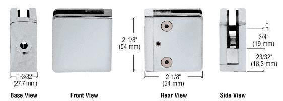 "CRL Satin Chrome Z-Series Square Type Flat Base Zinc Clamp for 3/8"" Glass CRL Z810SC"