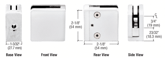 "CRL White Z-Series Square Type Flat Base Zinc Clamp for 3/8"" Glass CRL Z810W"