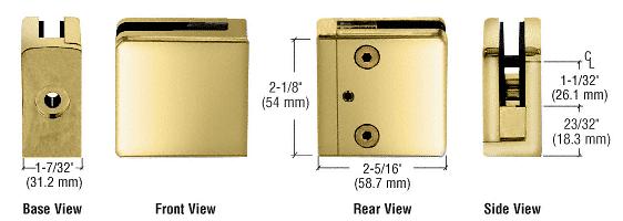 "CRL Brass Z-Series Square Type Flat Base Zinc Clamp for 1/2"" Glass CRL Z812BR"