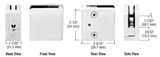 "CRL White Z-Series Square Type Flat Base Zinc Clamp for 1/2"" Glass CRL Z812W"
