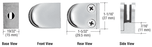 CRL Polished Stainless Mini Z-Series Glass Clamp Round Shape - Flat Base CRL ZMF06PS