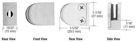CRL Satin Stainless Mini Z-Series Glass Clamp Round Shape - Flat Base CRL ZMF06SS