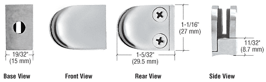 CRL Polished Stainless Mini Z-Series Round Type Radius Base Glass Clamp CRL ZMR06PS