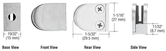 CRL Satin Stainless Mini Z-Series Round Type Radius Base Glass Clamp CRL ZMR06SS