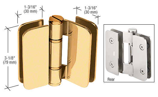 CRL Gold Plated Zurich 01 Series 180 Degree Glass-to-Glass Outswing or Inswing Bi-Fold Hinge CRL ZUR01GP