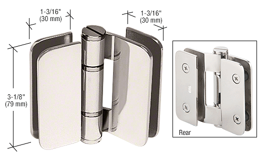 CRL Polished Nickel Zurich 01 Series 180 Degree Glass-to-Glass Outswing or Inswing Bi-Fold Hinge CRL ZUR01PN