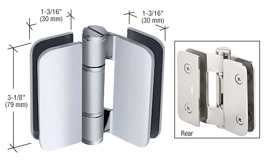 CRL Brushed Stainless Zurich 01 Series 180 Degree Glass-to-Glass Outswing or Inswing Bi-Fold Hinge CRL ZUR01SS