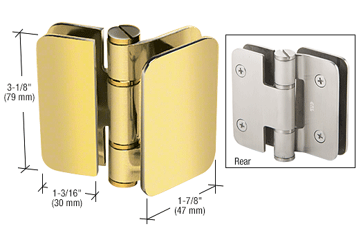 CRL Polished Brass Zurich 02 Series 180 Degree Glass-to-Glass Inswing or Outswing Bi-Fold Hinge CRL ZUR02BR
