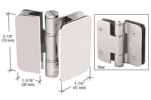 CRL Polished Nickel Zurich 02 Series 180 Degree Glass-to-Glass Inswing or Outswing Bi-Fold Hinge CRL ZUR02PN