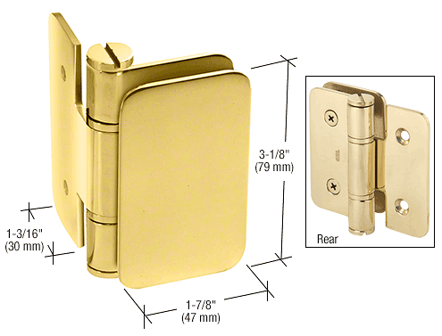 CRL Polished Brass Zurich 03 Series Wall Mount Inswing Hinge CRL ZUR03BR