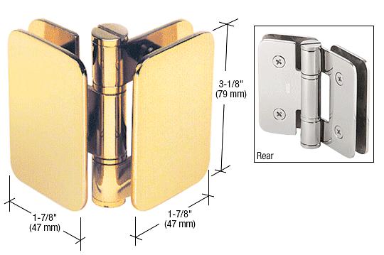 CRL Polished Brass Zurich 04 Series Glass-to-Glass 90 Degree Inswing Hinge CRL ZUR04BR