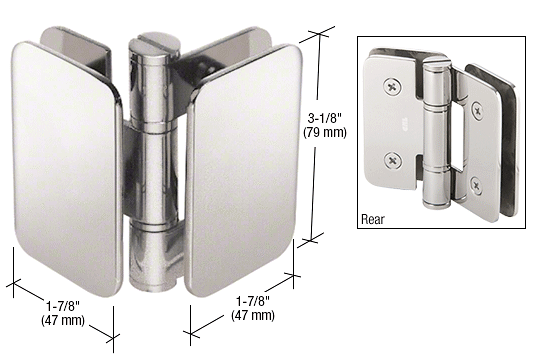 CRL Polished Stainless Zurich 04 Series Glass-to-Glass 90 Degree Inswing Hinge CRL ZUR04PS