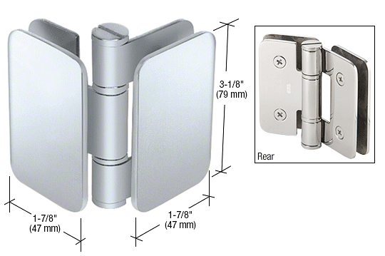 CRL Brushed Stainless Zurich 04 Series Glass-to-Glass 90 Degree Inswing Hinge CRL ZUR04SS