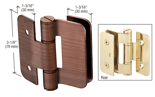 CRL Antique Brushed Copper Zurich 05 Series Wall Mount Outswing Hinge CRL ZUR05ABC0