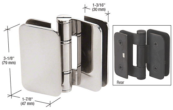CRL Polished Stainless Zurich 06 Series Glass-to-Glass 90 Degree Outswing Hinge CRL ZUR06PS