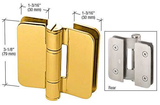 CRL Gold Plated Zurich 07 Series Glass-to-Glass Inline Outswing Hinge CRL ZUR07GP