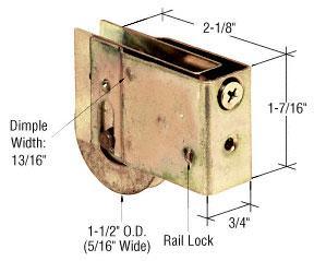 "CRL 1-1/2"" Steel Sliding Glass Door Roller With 3/4"" Wide x 1-7/16"" High Housing - D1828"