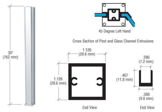 "CRL Brite Anodized Standard 30"" LH 45 Degree Center Partition Post - D990BA30LH45C"