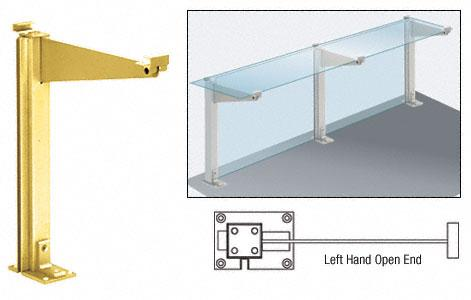 """CRL Brite Gold Anodized 18"""" Left Hand Open End Partition Post With Top Shelf - D995BGALH0E"""