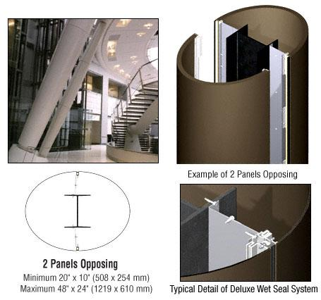 CRL Custom Brushed Bronze Deluxe Series Elliptical Column Covers Two Panels Opposing - DCE20CBBRZ