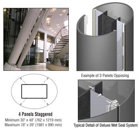 CRL Custom Champagne Metallic Deluxe Series Elliptical Column Covers Four Panels Staggered - DCE45CCM