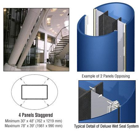 CRL Custom Color Powder Painted Deluxe Series Elliptical Column Covers Four Panels Staggered - DCE45CPT