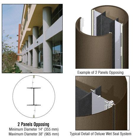 CRL Custom Brushed Bronze Deluxe Series Round Column Covers Two Panels Opposing - DCR20CBBRZ