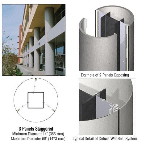 CRL Custom Brushed Stainless Deluxe Series Round Column Covers Three Panels Staggered - DCR30CBS