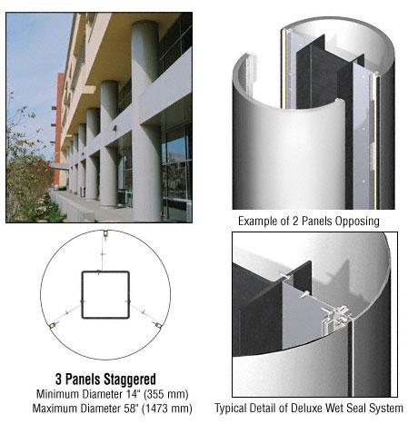 CRL Custom Polished Stainless Deluxe Series Round Column Covers Three Panels Staggered - DCR30CPS