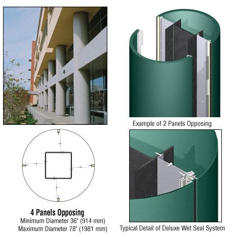 CRL Custom Color Kynar® Painted Deluxe Series Round Column Covers Four Panels Opposing - DCR40CKN