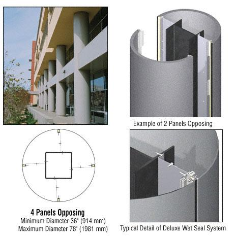 CRL Custom Mica Platinum Deluxe Series Round Column Covers Four Panels Opposing - DCR40CMP
