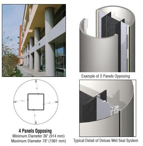 CRL Custom Non-Directional Stainless Series Round Column Covers Four Panels Opposing - DCR40CNDS