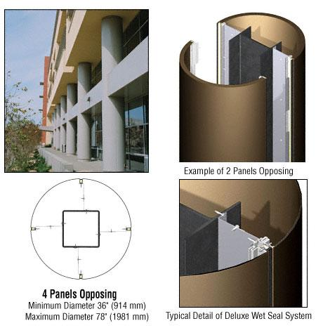 CRL Custom Polished Bronze Deluxe Series Round Column Covers Four Panels Opposing - DCR40CPBRZ