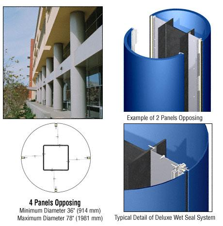 CRL Custom Color Powder Painted Deluxe Series Round Column Covers Four Panels Opposing - DCR40CPT