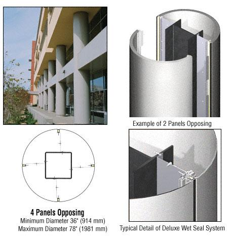 CRL Custom Silver Metallic Deluxe Series Round Column Covers Four Panels Opposing - DCR40CSM