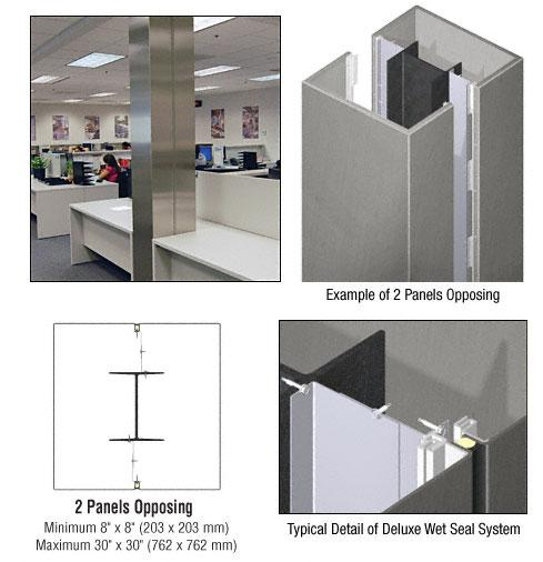 CRL Custom Brushed Stainless Deluxe Series Square Column Covers Two Panels Opposing - DCS20CBS