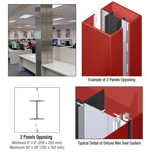 CRL Custom Color Newlar Painted Deluxe Series Square Column Covers Two Panels Opposing - DCS20CNL