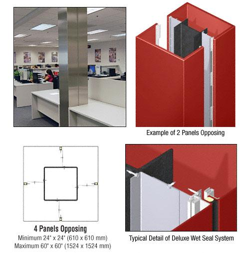 CRL Custom Color Newlar Painted Deluxe Series Square Column Covers Four Panels Opposing - DCS40CNL