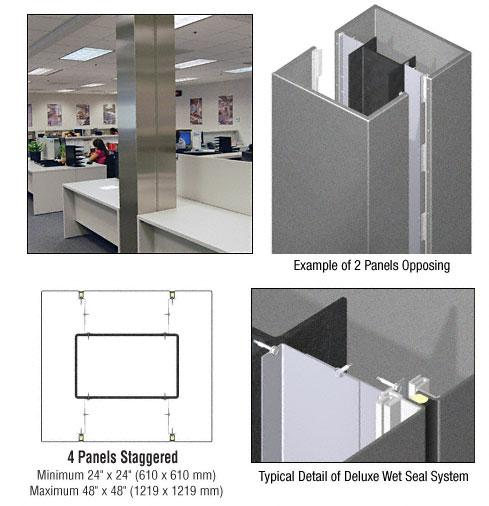 CRL Custom Mica Platinum Deluxe Series Square Column Covers Four Panels Staggered - DCS45CMP