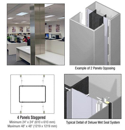 CRL Custom Non-Directional Stainless Deluxe Series Square Column Covers Four Panels Staggered - DCS45CNDS
