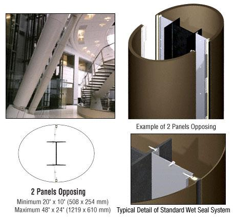 CRL Custom Brushed Bronze Standard Series Elliptical Column Covers Two Panels Opposing - ECE20CBBRZ