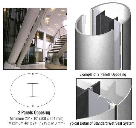 CRL Custom Silver Metallic Standard Series Elliptical Column Covers Two Panels Opposing - ECE20CSM