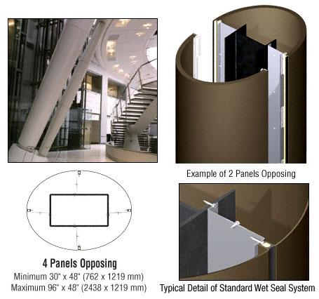 CRL Custom Brushed Bronze Standard Series Elliptical Column Covers Four Panels Opposing - ECE40CBBRZ