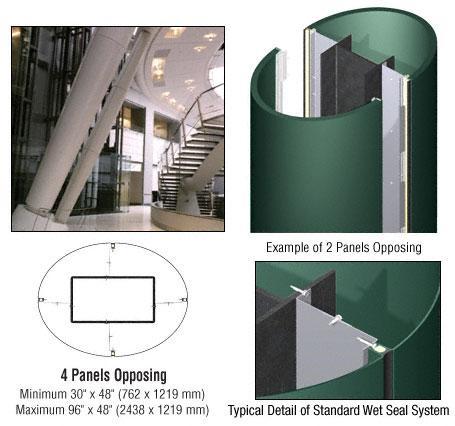 CRL Custom Color Kynar® Painted Standard Series Elliptical Column Covers Four Panels Opposing - ECE40CKN