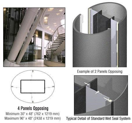 CRL Custom Mica Platinum Standard Series Elliptical Column Covers Four Panels Opposing - ECE40CMP