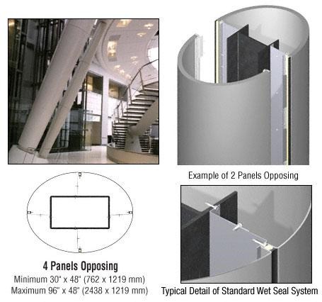 CRL Custom Non-Directional Stainless Standard Series Elliptical Column Covers Four Panels Opposing - ECE40CNDS