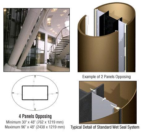 CRL Custom Polished Bronze Standard Series Elliptical Column Covers Four Panels Opposing - ECE40CPBRZ