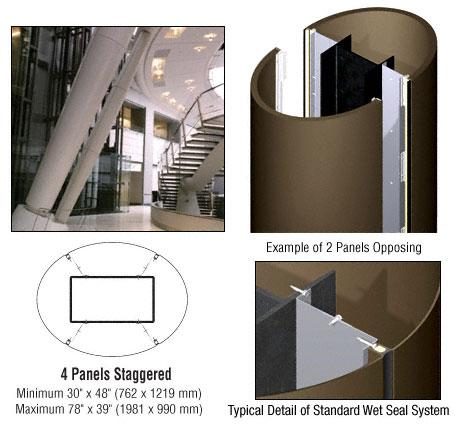 CRL Custom Brushed Bronze Standard Series Elliptical Column Covers Four Panels Staggered - ECE45CBBRZ