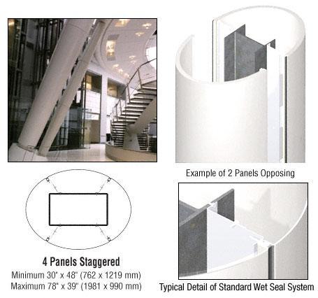 CRL Custom Bone White Standard Series Elliptical Column Covers Four Panels Staggered - ECE45CBW