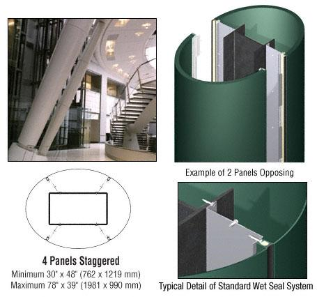 CRL Custom Color Kynar® Painted Standard Series Elliptical Column Covers Four Panels Staggered - ECE45CKN